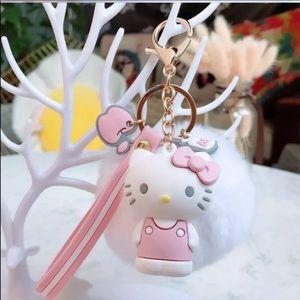 Hello kitty Pom Pom keychain